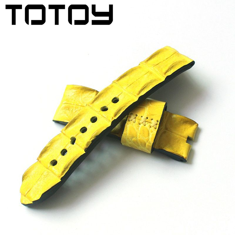 TOTOY Crocodile Skin Large Bone Road Strap 24MM Orange Leather Strap Rough Mad Bone Pattern Men