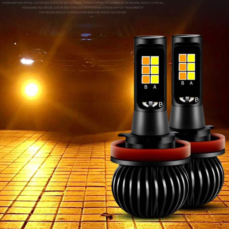 Newest CAR Front Fog Light Bulbs Dual Color 20W H11 H3 H4 H7 9005 HB3 9006 HB4 880/881 H27 LED DRL Lights White Yellow Ice blue