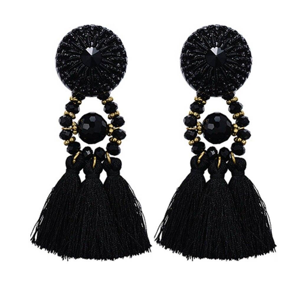 Women's Long Crystal Earrings Hanging Drops Tassels Earring Ethnic  Statement Dangle Earring With Stone Black Bijouterie