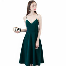 c004e7e7c4915 Koyu Yeşil Saten Mezuniyet Elbiseleri 2019 Seksi Backless Diz Boyu Özel  Amaçlar Homecoming Vestido de formatura