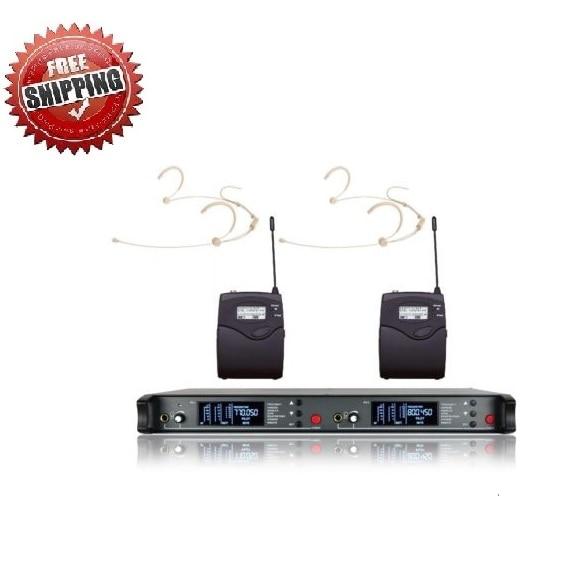 Bolymic Professional 200Channels UHF Wireless Dual Headworn Microphone Mic System