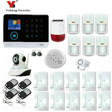 все цены на Yobang Security Wireless Home Security WIFI RFID SIM GSM Alarm System IOS Android APP Control Video IP Camera Smoke Fire sensor