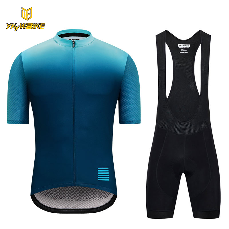 YKYWBIKE cycling jersey set 2018 pro team Breathable mtb clothing men Reflective bike shirt Gradient color maillot ciclismo