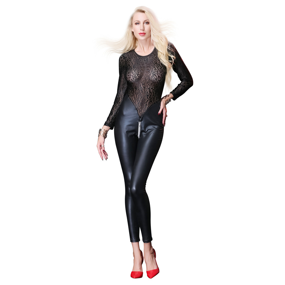 Patent leather transparent Lace Splicing Tighten Locomotive wear body sexy lingerie porno latex catsuit bodystocking lenceria