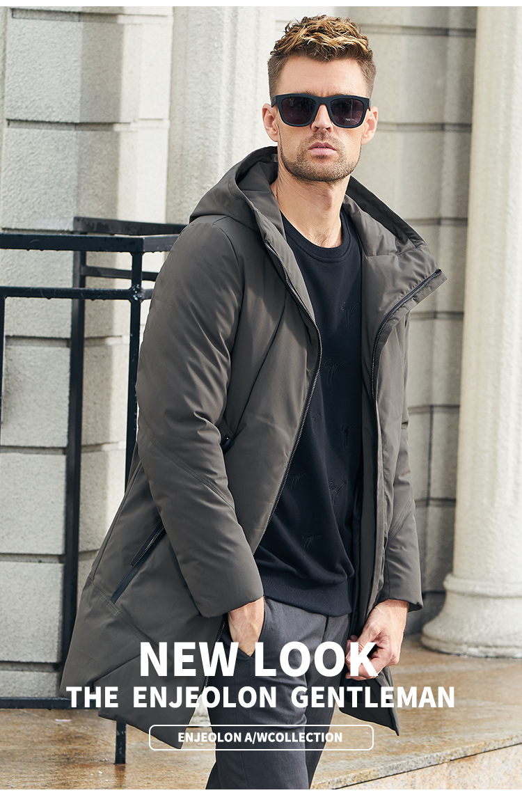 Enjeolon Brand Winter Jacket Men Long Parka Jacket Thick Hat Parka Coat Men Quilted Winter Jacket Coat Clothes MF0060 1