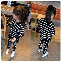 Girl Suit Autumn Clothing 2016 New Pattern Children Baby Spring Autumn Han Banchao Stripe Zipper Cardigan