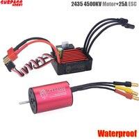Surpass Hobby 2435 4500kv Brushless Motor + 25A Brushless Speed Controller ESC Waterproof 2S For 1/16 RC Car