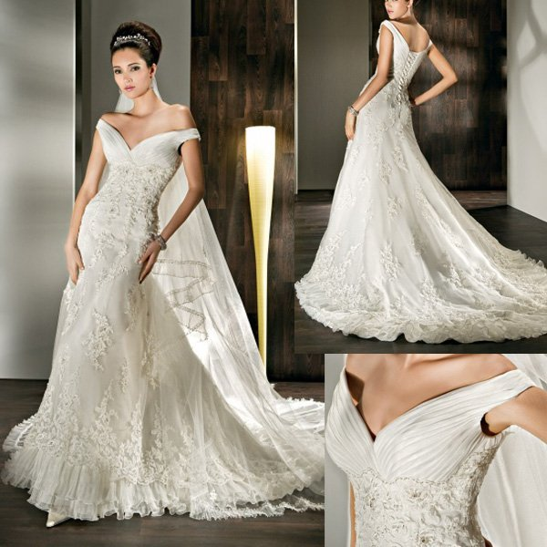 Vintage Style Lace Wedding Dresses: New Style WD121 Appliques Court Train Off The Shoulder