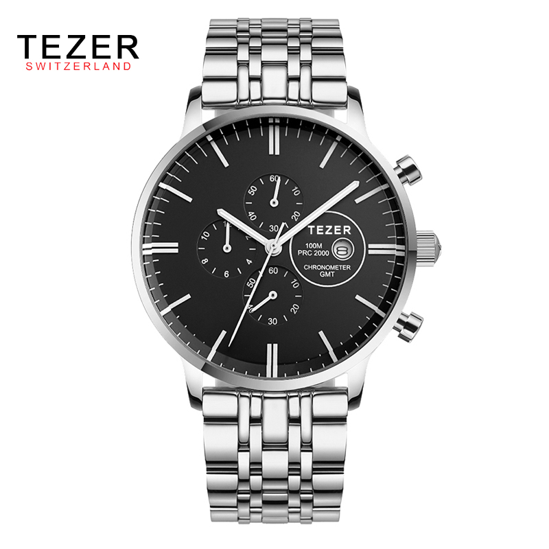 TEZER New Brand Relogio Feminino Date Day Clock 100 Meters Waterproof Male Stainless Steel Watch Men Fashion Casual Watch AB1952 new forcummins insite date unlock proramm