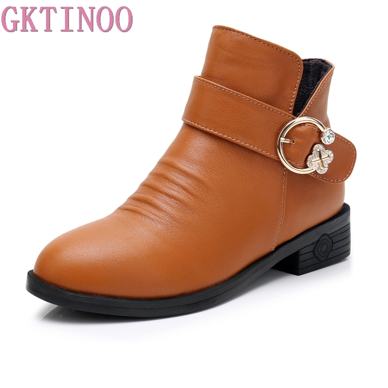 GKTINOO Fashion Women Martin Boots Autumn Boot Genuine Leather Ankle Boots 2018 Winter Warm Fur Plush Women Shoes Big Size 34-43 plus size 34 43 new fashion autumn winter boots women classic zip ankle boots warm plush leather casual martin boots women shoes