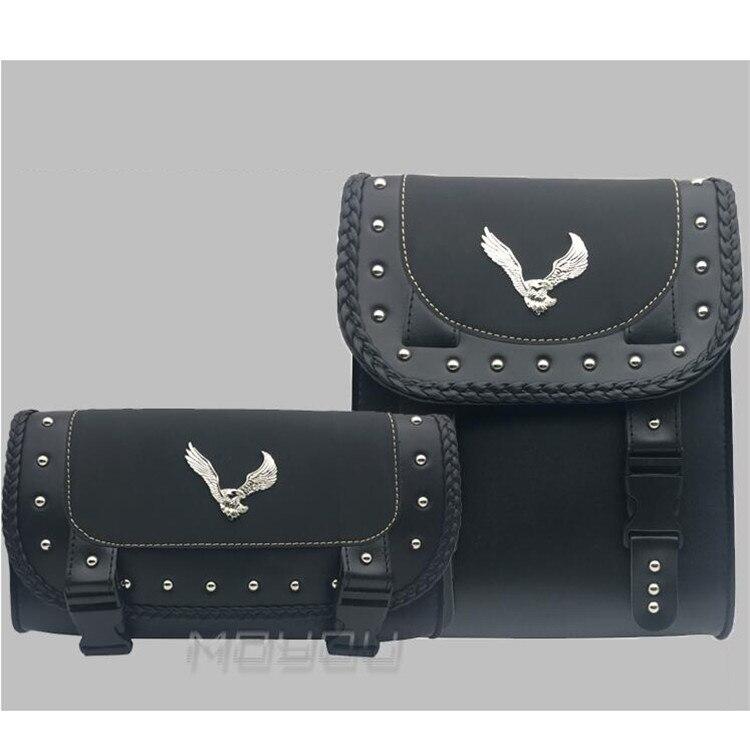 1 set eagle decal black scooter pouch motorbike tool bag for honda yamaha suzuki harley moto saddle bags motorcycle saddlebag