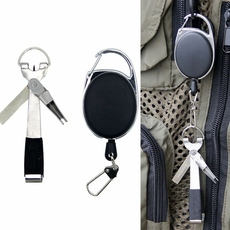 1 Set Fishing Knot Tying Tool Line Cutter Stretchable Buckle Fly Tackle Portable