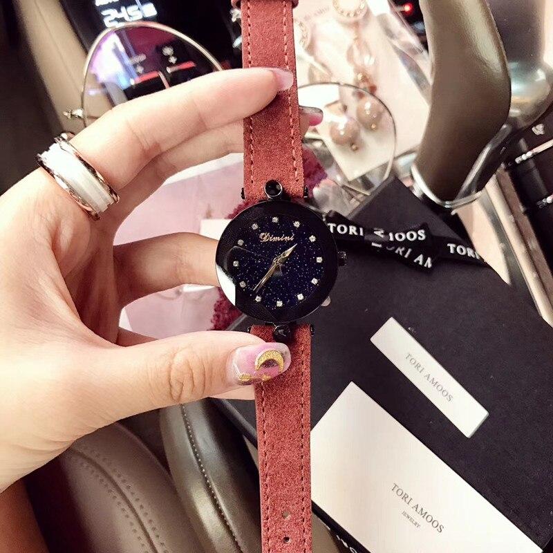 Vent froid sexuel femmes Cool noir montres personnalisé Multi facettes cristal verre étoile montre étanche en cuir de fourrure montre-bracelet