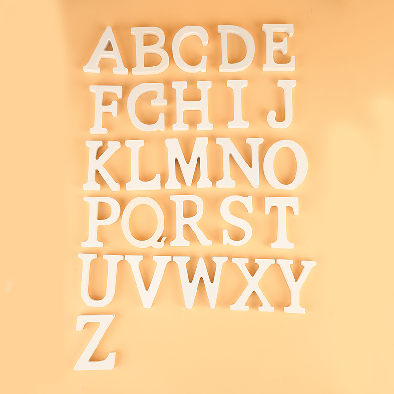 8cm A-Z 0-9 Wooden White English Letters Ornaments Decoration Crafts Wood Love Letter Wedding Decorative Numbers Home Room Hotel