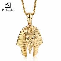 Kalén Cổ Điển Ai Cập Pharaoh Mặt Dây Chuyền Vòng Cổ Cho Nam Giới Phụ Nữ Thép Không Gỉ Vàng Rhinestone Ai Cập Pharaoh Dây Chuyền Trang Sức