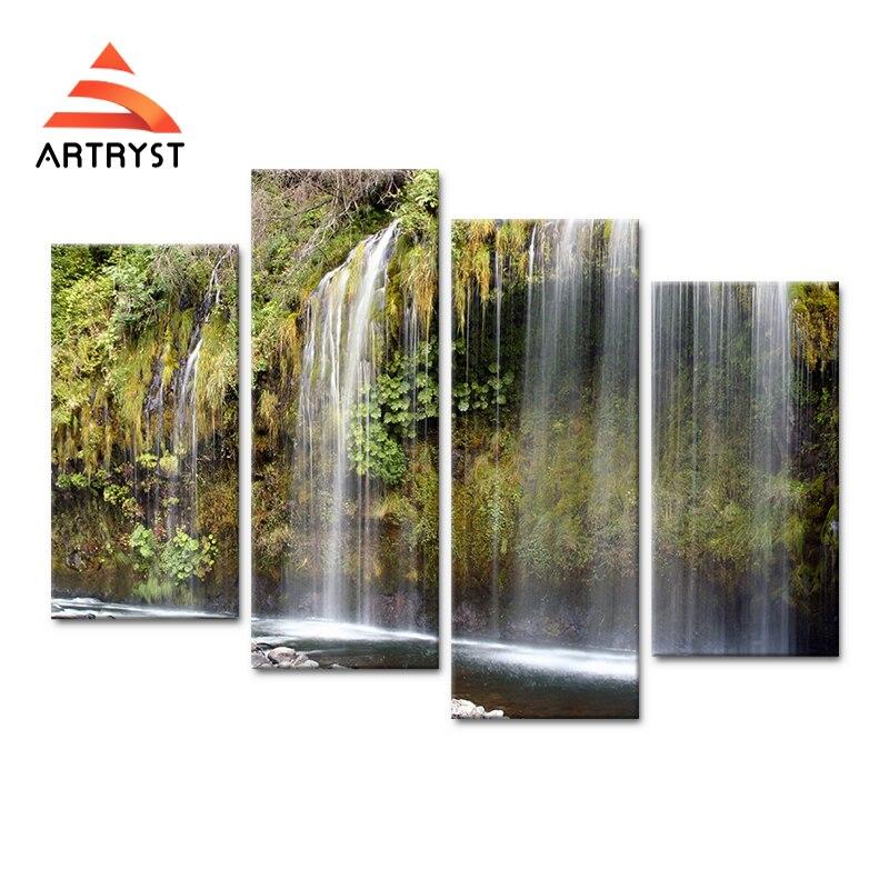 4 패널 모듈 형 현대 홈 아름다운 폭포 풍경 장식 캔버스 그림 HD 인쇄 캔버스 침실