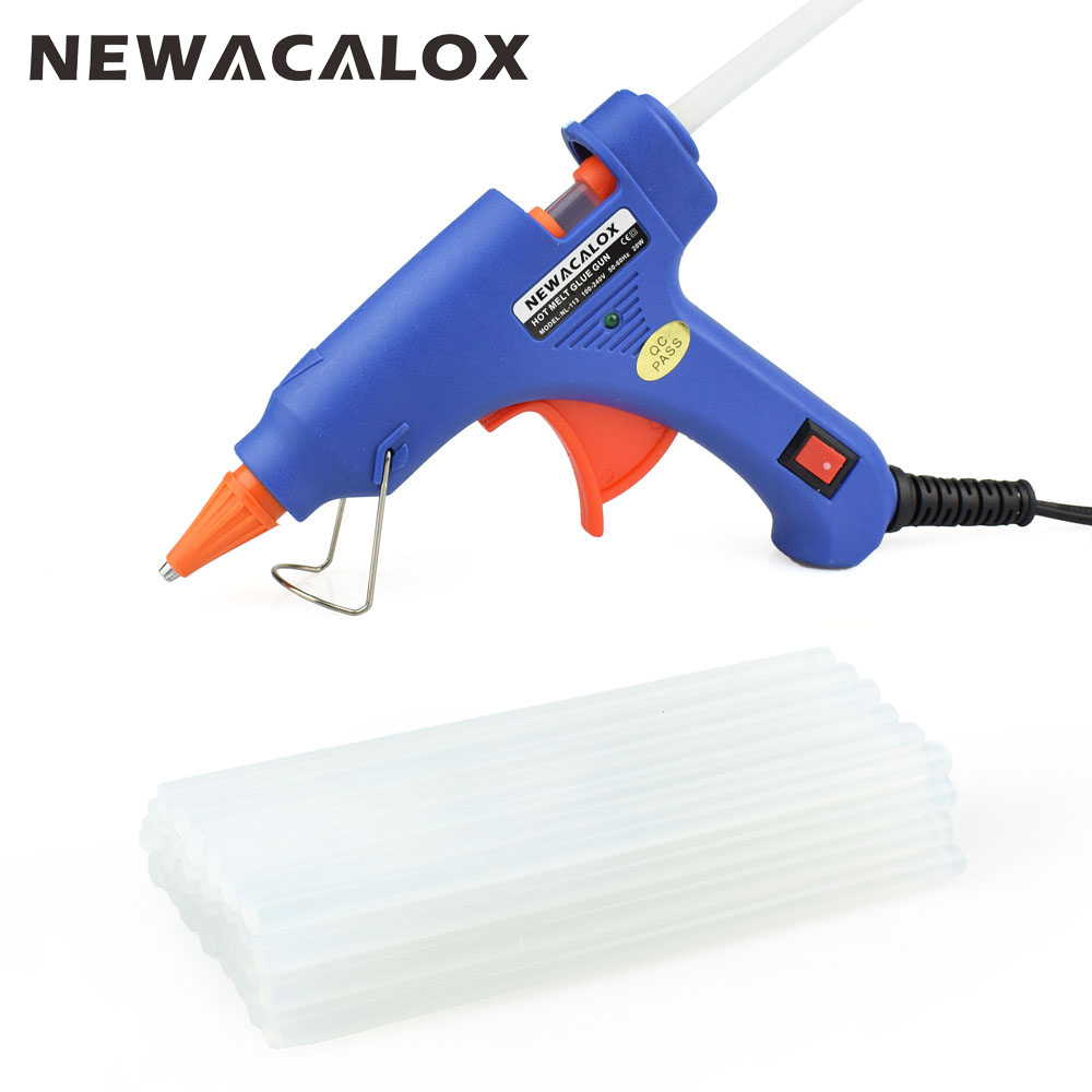 NEWACALOX EU/US Plug 20 Вт термоклеевой пистолет с мм 20 шт. 7 мм клеевой карандаш промышленные мини-пистолеты Thermo Gluegun термотемпература инструмент