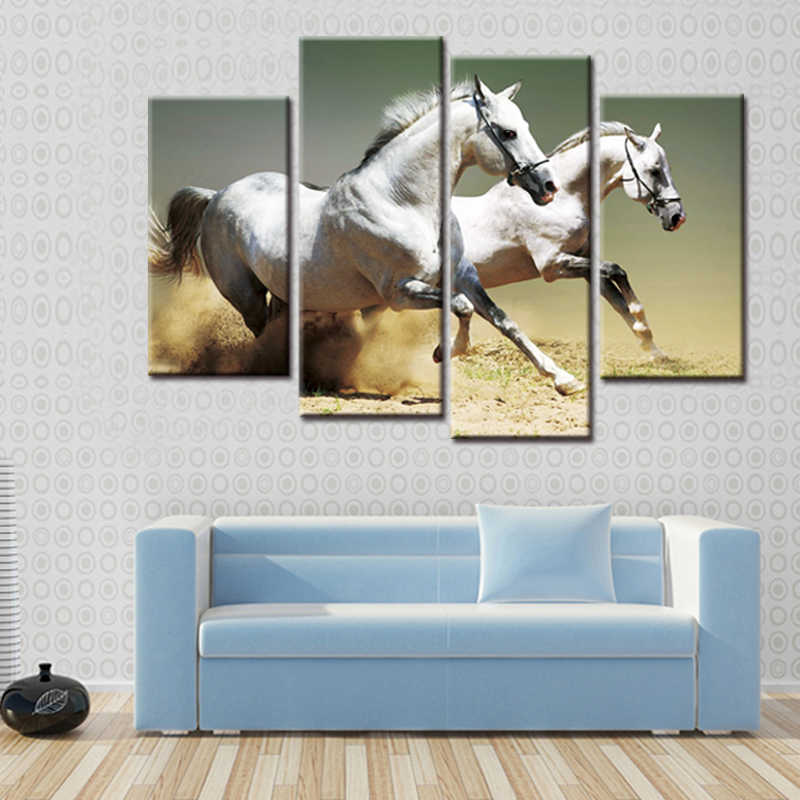 4 Panel HD Printing Animals Two Horse Canvas Printing Room Decorative Print Poster Image Canvas Free Shipping