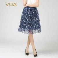 VOA 2018 Summer Fashion Boho Blue Green Silk Chiffon Print Ball Gown Short Skirt Mid Waist Women Beach Casual Midi Skirt C611