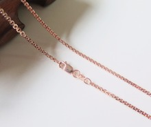 Pure 18K Rose Gold Necklace Special 1.7mm Squared Rolo Link Chain Necklace 19.7inch Length Hallmark: Au750