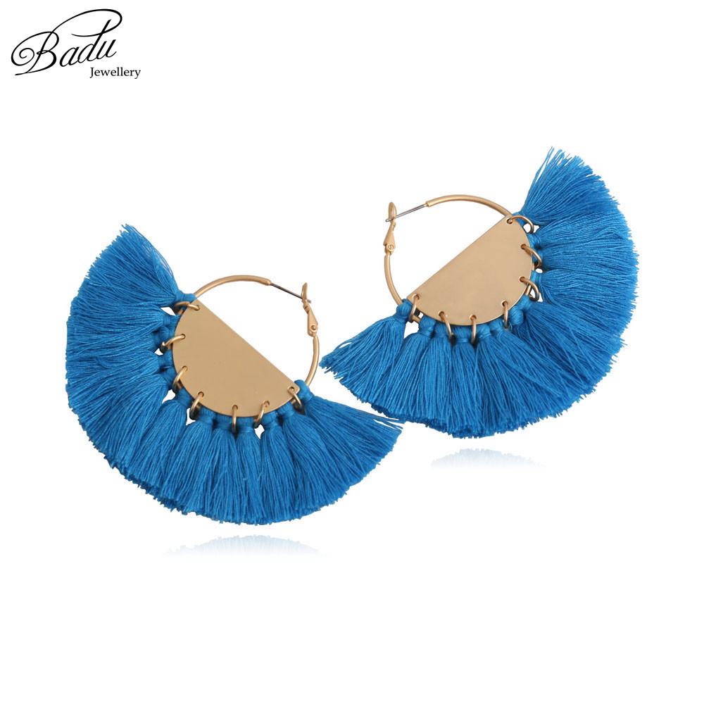 Badu Gold Hoop Tassel Earring Women Statement 7 Colors Big Fringe Earrings Exagerar Fan Shape 2017 Joyería de moda Regalo de vacaciones