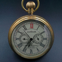1856 Pure Cooper Skeleton Wind Up Mechanical Pocket Watch W Chain Nice Xmas Gift Wholesale Price