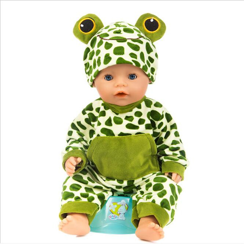 Fit 18 inch 43cm Born Baby Doll Clothes Three Blue Rabbit Blue Rabbit Frog Blue Bea Doll Accessories For Baby Birthday Gift in Dolls Accessories from Toys Hobbies