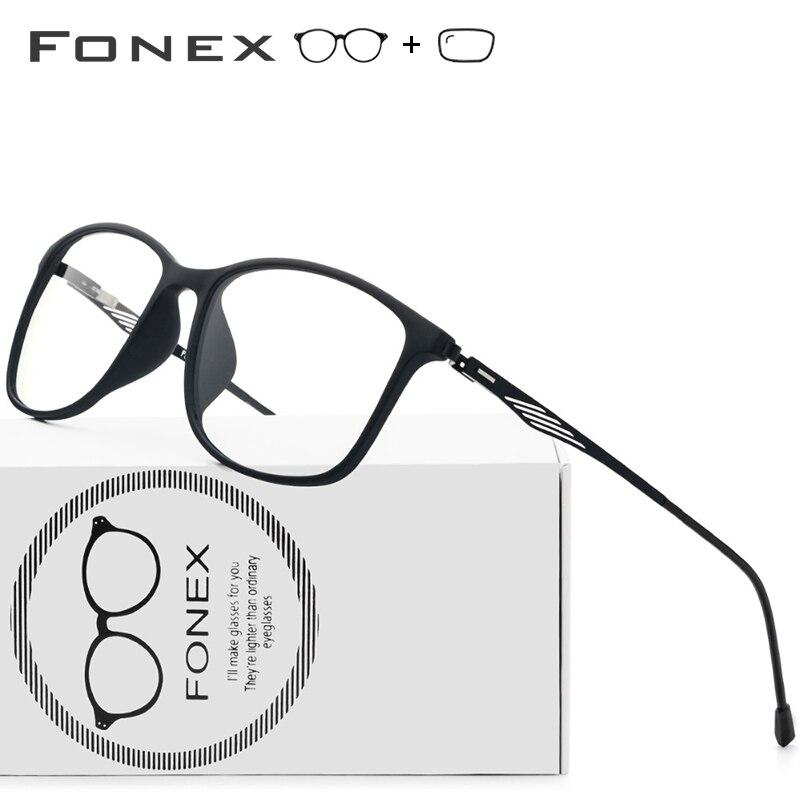 TR90 alliage optique cadre hommes carré myopie oeil verre lunettes coréen sans vis lunettes Prescription lunettes