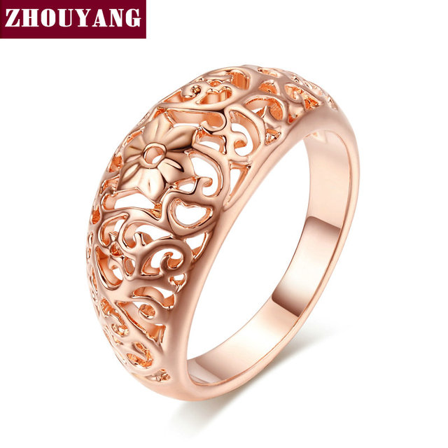 ZHOUYANG Ring For Women Flower Hollowing craft Rose Gold Color Silver & Black Go
