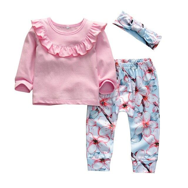f87ca00ca22e Newborn Baby Girls Clothes Infant 3Pcs Cute Fold Ruffle Long Sleeve Tops+ Pants+Headband Outfit Set Toddler Girls Clothing