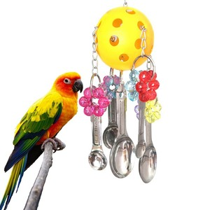 Клетка для домашних животных, подвесная маленькая птичка для животных, жевательные игрушки, ложка для попугая, веревка из нержавеющей стали...