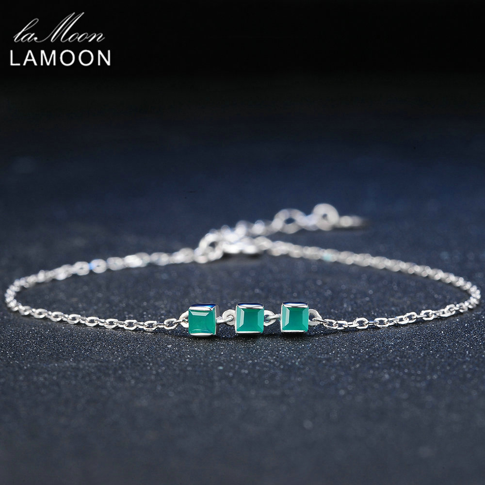 Lamoon 2mm 100% Natural Square Green Chalcedony 925 Sterling Silver Bracelet Chain Charm Jewelry  S925 LMHI017Lamoon 2mm 100% Natural Square Green Chalcedony 925 Sterling Silver Bracelet Chain Charm Jewelry  S925 LMHI017