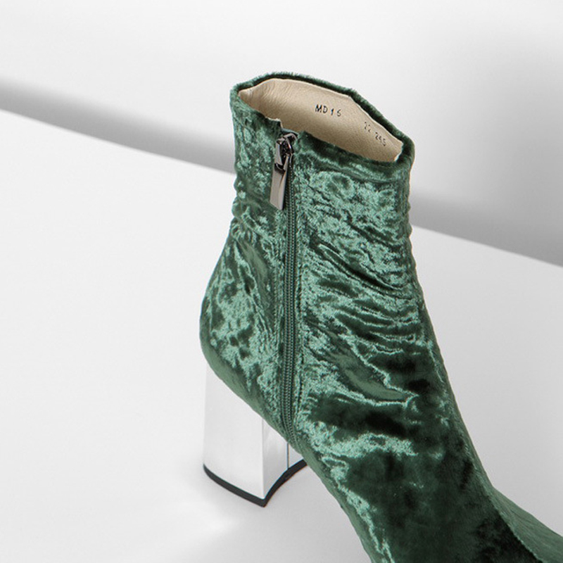 Spring//Autumn Silver Velvet Women Ankle Booties Pointed Toe Glittering Square Heels Zipper Short Boots Shoes