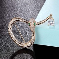 Zlxgirl AAA cubic zircon Snake Shape Brooch bridal Jewelry for women metal Gold copper Hijab Pins Clothes Suit Accessories