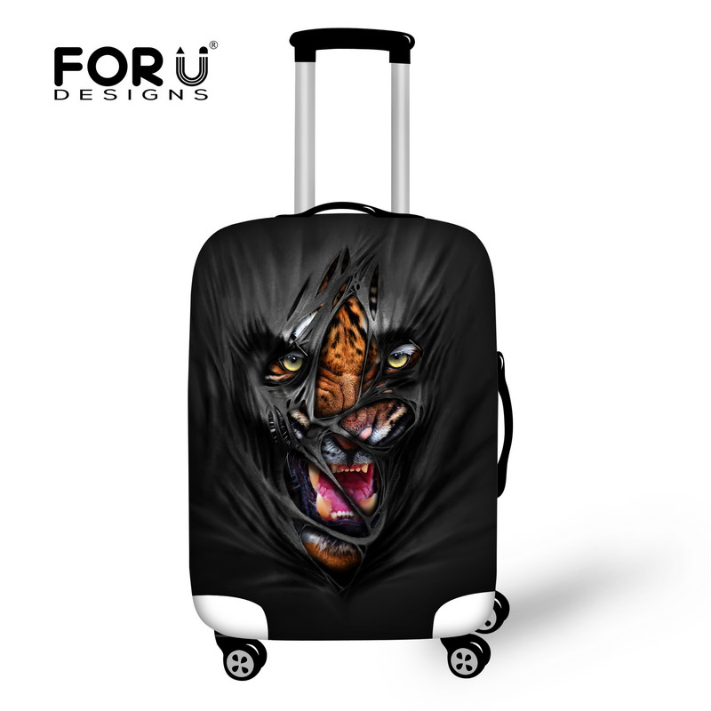 Fashion Black Travel Luggage Bag Suitcase Protective Cover Animal Prints Baggage Cover Stretch to 18 -30 Inch Travel Accessories