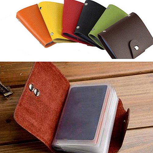 Men Women 24 Card ID Credit Card Holder Faux Leather Pocket Case Purse Wallet business card holder women vogue thumb slide out stainless steel pocket id credit card holder case men