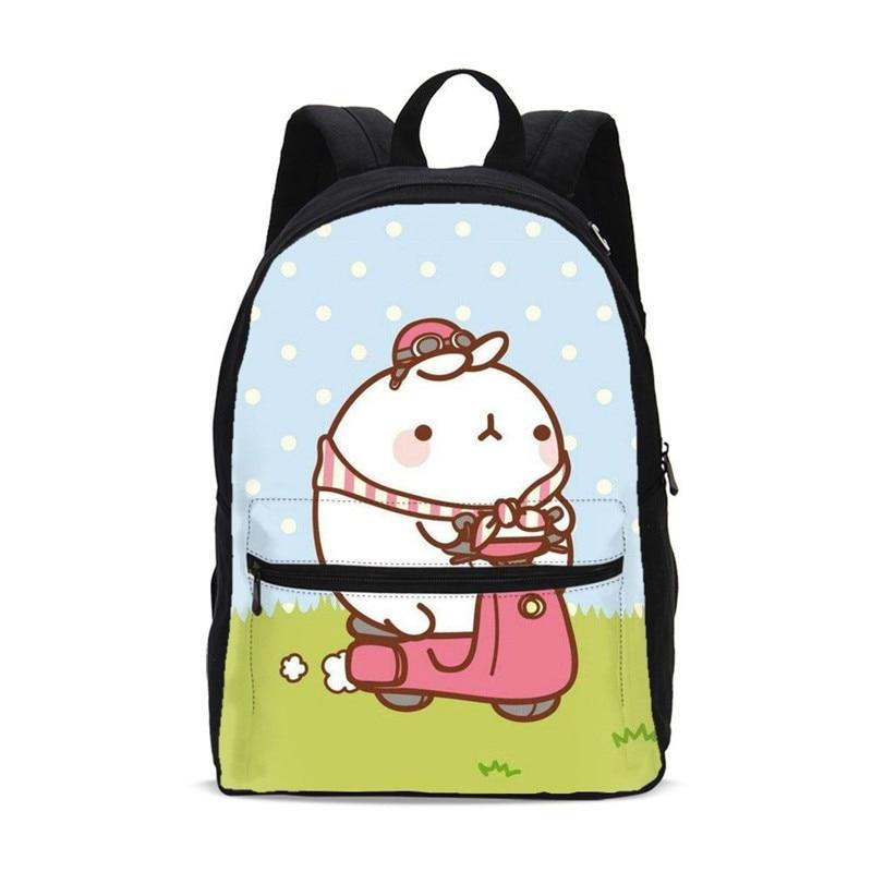 Canvas Backpacks For Boys Girls Fashion Cartoon Cute Bunny Molang 3D Printing School Bag Children Kids