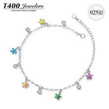T400 подарки на день рождения мода эмаль звезда браслет сделаны с высокое качество цирконий стерлингового серебра 925 # 3378 бесплатная доставка
