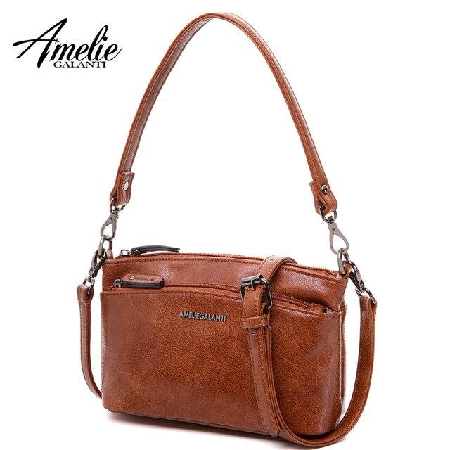 AMELIE GALANTI стильный компактный сумка женская с двумя внешними отделениями из искусственной кожи Малый сумки через плечо