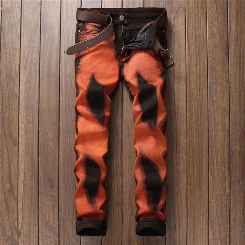 ФОТО 2017 New Fashion Men's Jeans Men Slim Straight Orange Stretch Jeans High Quality Designer Denim Pants Nightclubs Singers