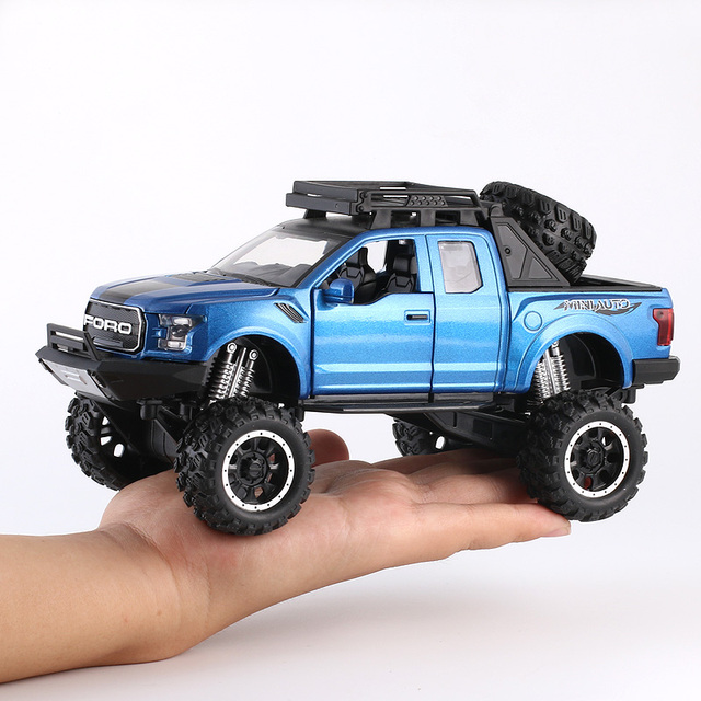 KIDAMI 1:32 Ford Raptor F150 alliage moulé sous pression voiture modèle jouets son lumière jouet camionnette tirer véhicule arrière pour enfants