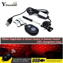 Yituancar 1X USB LED titreşimsiz solunum ses uzaktan kumanda araba Styling atmosfer ışığı Meteor yıldızlı gökyüzü iç lazer lamba