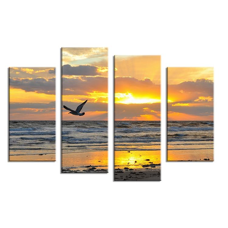 4 PCS burung terbang di laut sunset Wall painting cetak pada cat ...