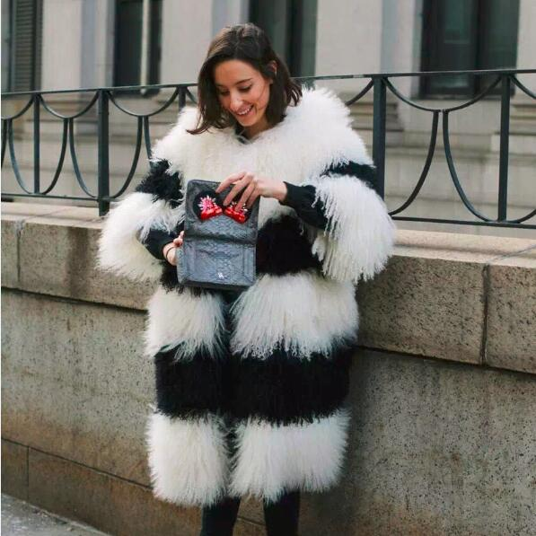 100% Real Rex Rabbit Fur Coat Women's  Mid-Long Rabbit Fur Jacket 3/4 Sleeves Vintage Style Fur Thick Warm Outwear