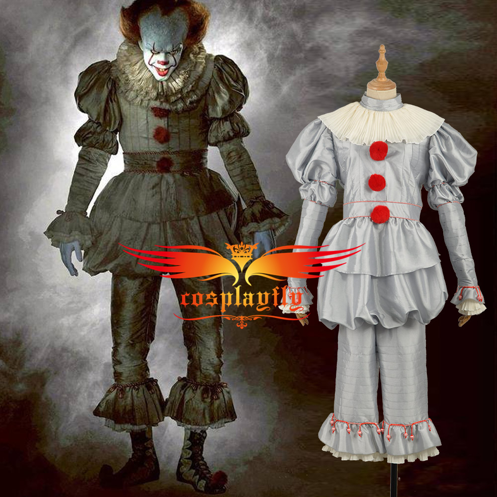 2017 Dracula film Stephen King's It Joker Pennywise Cosplay Costume uniforme tenue tissu pour adulte Halloween carnaval W1288