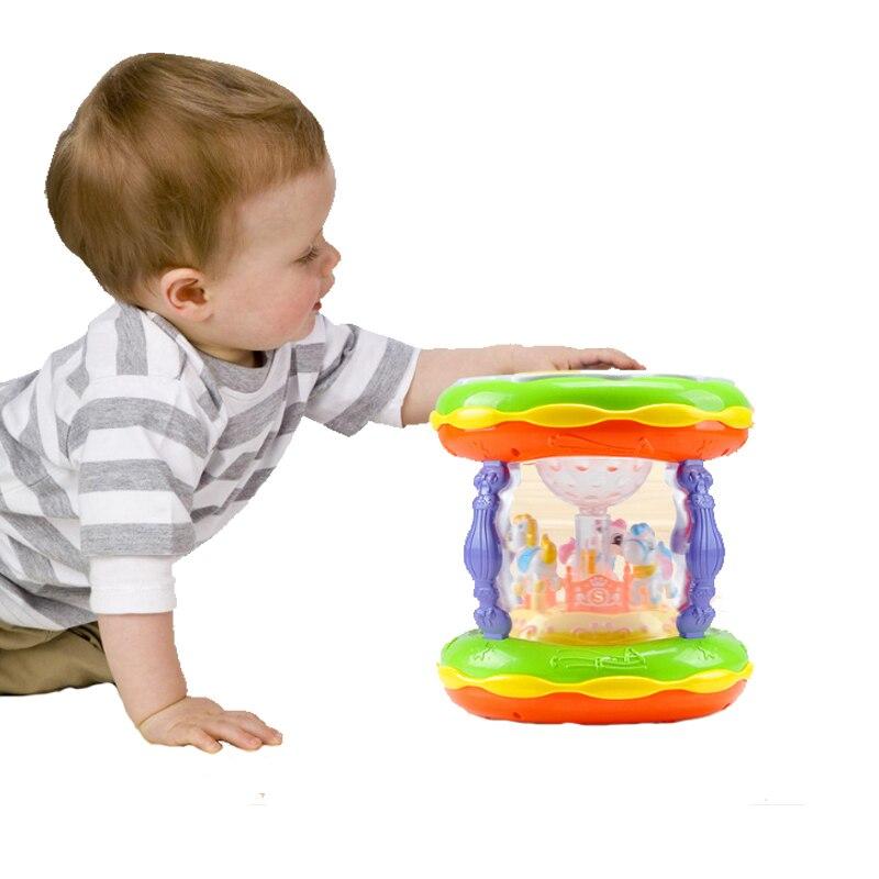 Wczesnego dzieciństwa karuzela edukacji ładowania z mikrofonem dla dzieci bęben ręczny połączenie dotykowe telefon komórkowy wielofunkcyjny zabawki