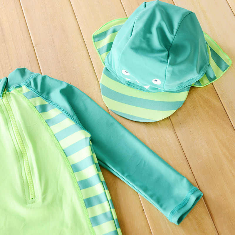 Kronologis, Baju Renang Bayi Laki-laki Tampan Dinosaurus Beach Sunscreen Pakaian Anak-anak Ruam Penjaga Bayi Laki-laki Pakaian Renang dan Topi Dalam Satu Set