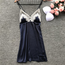 Daeyard Silk Nightgown Women Spring Summer Spaghetti Straps Nightdress Sexy Lace Trim Babydoll Mini Dress Sleepwear Home Wear