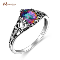 Victoria Wieck Brand Jewelry Vintage Fire Oval Mystic Created Topaz Crystal 925 Sterling Silver Rings For