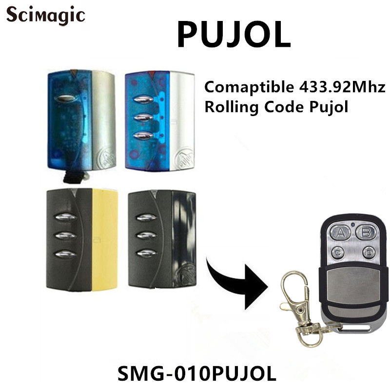 PUJOL Replacement Remote Garage 433.92MHz Rolling Code PUJOL Garage Door Remote Control Key Fob